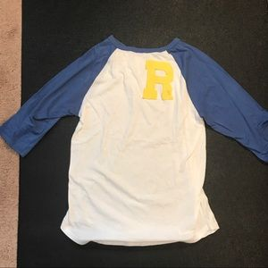 👻 Junk Food R Blue Raglan Tee Large